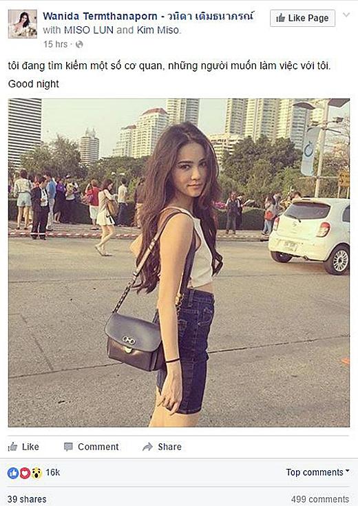 Lời nhắn của Wanida đã nhận được 16.000 lượt thích và gần 500 bình luận từ những người hâm mộ, đều là người Việt Nam. (Ảnh: Internet)