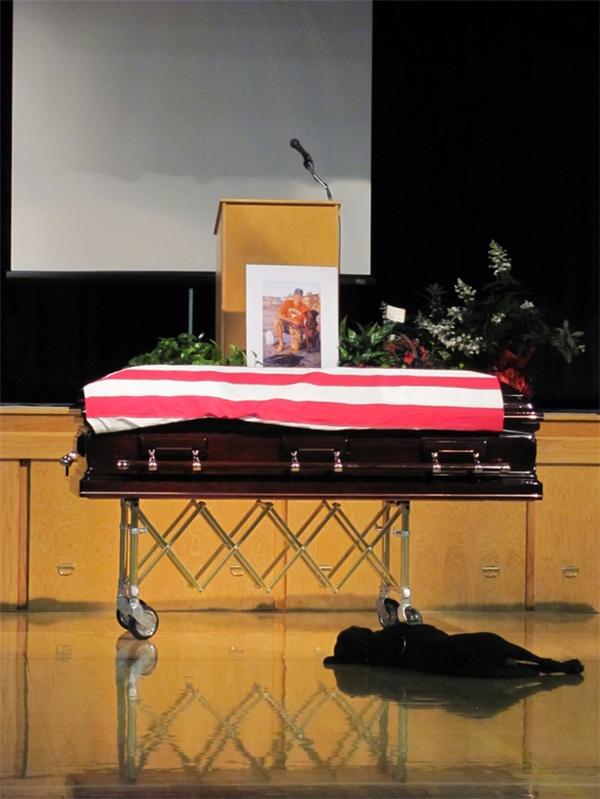 Chú chó nằm gục bên quan tài chủ, một người lính đã hy sinh. Chú cứ nằm ở đó suốt mãi cho đến khi tang lễ kết thúc.
