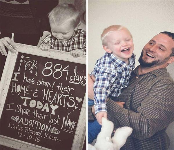 """""""Trong 884 ngày (gần 2 năm rưỡi) em được sống chung dưới một mái nhà với họ và trong trái tim họ. Hôm nay em còn được mang cùng một cái họ. Được nhận nuôi: Lukis Richard Moore, 10/12/2015."""" (Ảnh: TWR)"""