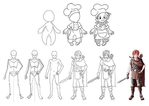 Thí sinh vẽ 1 serie tối thiểu 3 - 5 hình mô tả quá trình hình thành của nhân vật anh hùng.