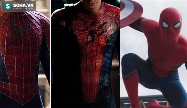 Sự khác biệt của Spider Man tron Captain America: Civil War (Ngoài cùng bên phải) thu hút sự chú ý của người hâm mộ.