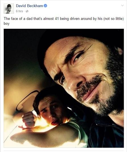 David Beckham đăng tải bức ảnh thân mật, cùng lái xe với con trai Brooklyn Beckham.(Ảnh: Internet)