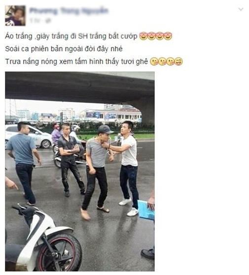 Hình ảnh soái ca bắt cướp được chia sẻ nhiều trên mạng xã hội.