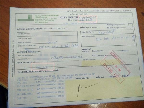 Giấy chuyển tiền mua chóqua ngân hàng củaN.M.(Ảnh: Internet)