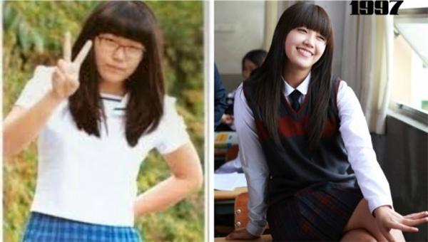 """Eunji (A Pink) có cơ hội """"quay ngược thời gian trở về với tuổi thơ"""" nhờ vai diễn trong phim truyền hình Reply 1997. So với thời trung học, ngoài trang phục có phần hiện đại hơn thì gương mặt mũm mĩm đáng yêu lẫn giọng nói Busan đặc trưng có lẽ không có gì khác biệt."""