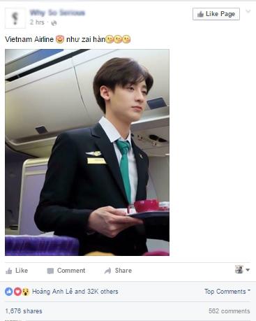"""Nhiều cư dân mạng trầm trồ với nhan sắc """"không tì vết"""" của chàng tiếp viên hàng không """"Việt Nam."""""""