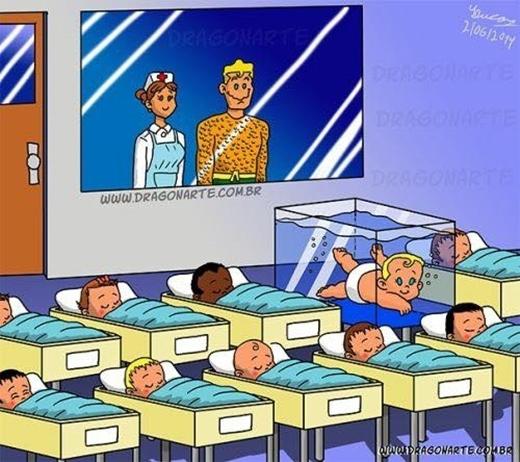 """Tuy rằng """"giường"""" của con trai Aquaman hơi choáng chỗ, nhưng biết sao được, tất cả """"vì tương lai con em chúng ta"""" mà. (Ảnh: Dragonarte)"""