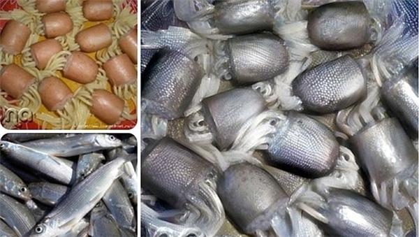 Xúc xích, mì spaghetti được ghép với cá tạo ra hình ảnh hệt những sinh vật biển kỳ quái.