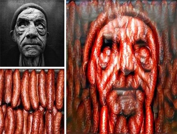 Khuôn mặt người đàn ông kết hợp với xúc xích tạo nên một bức tranh đầy ám ảnh.