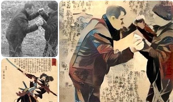 Một bức ảnh đen trắng của hai người đàn ông nắm tay nhau trở nên sống động hơn khi ghép với một bức tranh Trung Quốc.