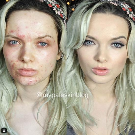 Gương mặt hoàn hảo sau trang điểm khác xa với ban đầu.