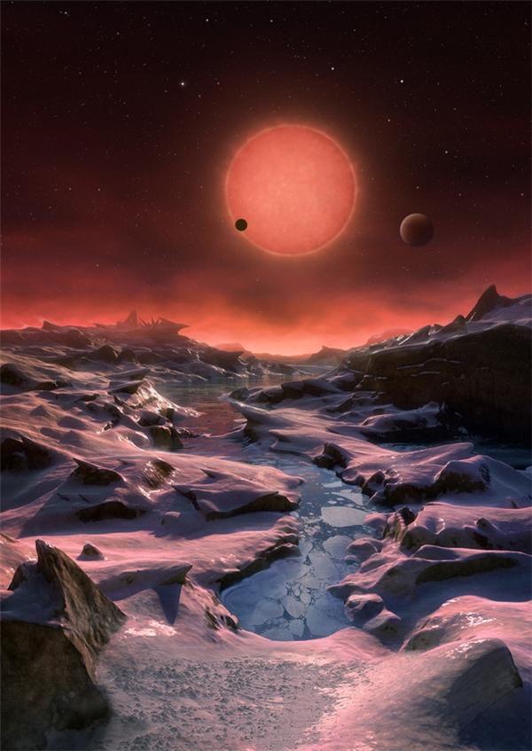 Hình ảnh 3D mô tả không gian trên 3 hành tinh vừa phát hiện của Tổ chức Nghiên cứu vũ trụ châu Âu tại bán cầu Nam (European Southern Observatory).(Ảnh: Internet)