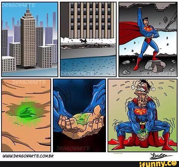 Viên đá màu xanh bé tí tẹo kia đối với Superman còn nặng hơn gấp mấy lần tòa nhà.