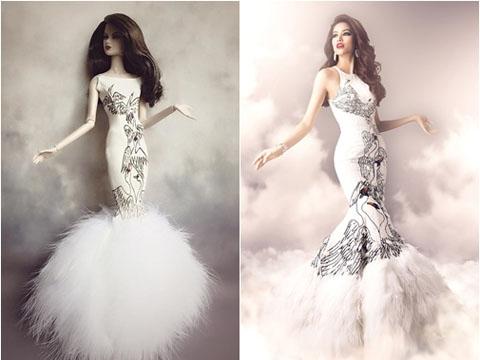 Trước đây, cũng từng xuất hiện mộ cô búp bê diện trang phục dạ hội và tạo hình được cover lại của Phạm Hương tại Hoa hậu Hoàn vũ 2015.