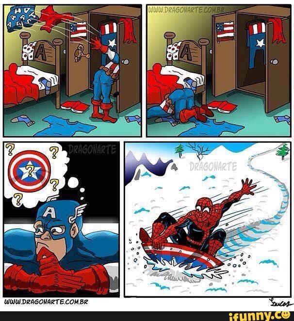 Khổ thân anh Cap không biết cái khiên đã bị thằng Nhện lấy trộm.