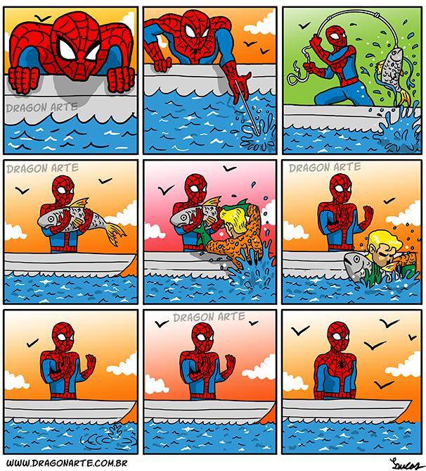 Đời Nhện nhọ nên làm cái gì cũng nhọ. Câu được có con cá cũng bị thằng Aquaman đòi lại mất.