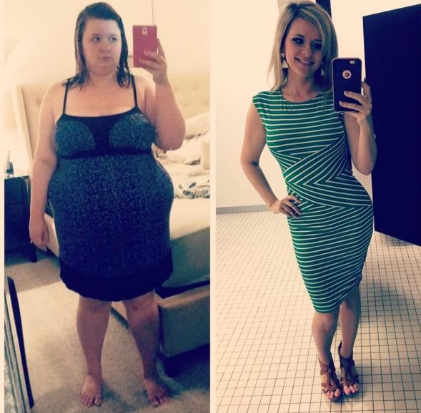 Loạt ảnh trước và sau khi giảm cân của cô gái người Mỹ khiến nhiều người kinh ngạc.
