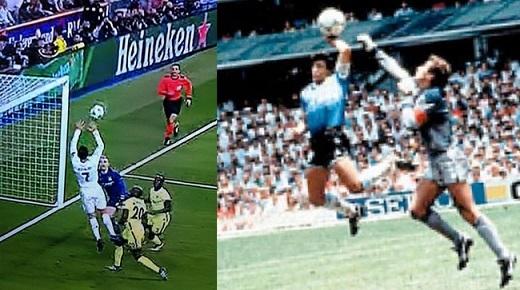 Tình huống chơi bóng bằng tay này giúp CR7 sánh ngang vớihuyền thoại Maradona. Chỉ khác nhau là Maradona được công nhận bàn thắng, còn Ronaldo thì không.