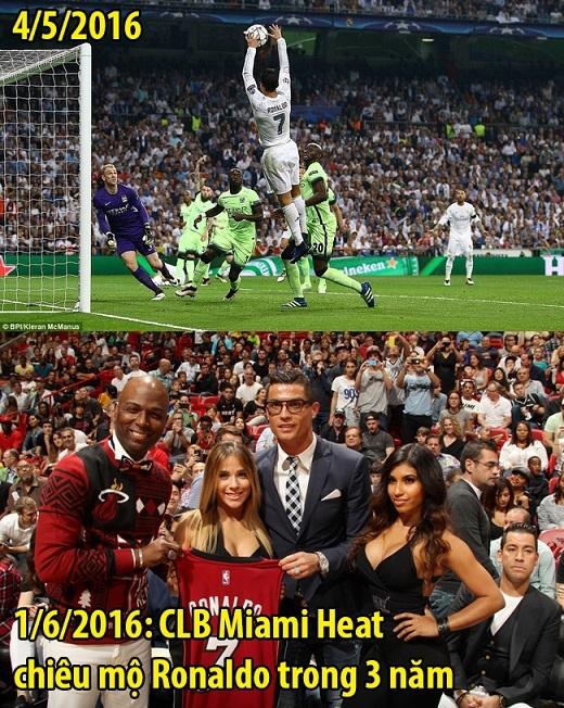 """Nhờ pha bật nhảy """"úp rổ"""" đỉnh cao trong trận đấu với Man City giúp Ronaldo lọt vào mắt xanh của CLB bóng rổ Miami Heat. Hết mùa giải này, anh sẽ sang Mỹ thi đấu bóng rổ chuyên nghiệp."""