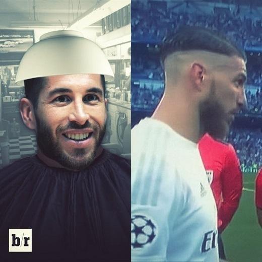 Mái tóc khó hiểu của Sergio Ramos cũng bị đem ra chế giễu. Nếu muốn cắt kiểu này, chắc chỉ cần úp ngược chiếc bát lên đầu ngôi sao người Tây Ban Nha.