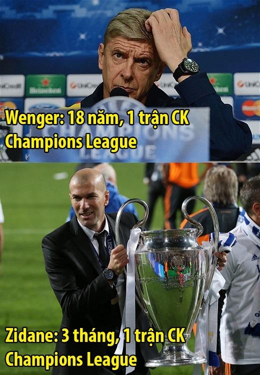 Thành tích của Zidane đã sánh ngang HLV huyền thoại Arsene Wenger.