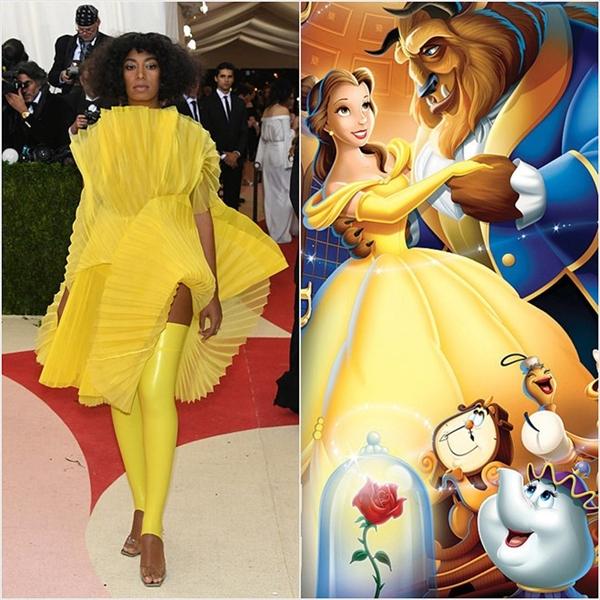 Solange Knowles là mĩ nhân có trang phục kì dị nhất trên thảm đỏ Met Gala vừa qua. Nếu so sánh với Belle thì đây được xem là phiên bản nổi loạn.