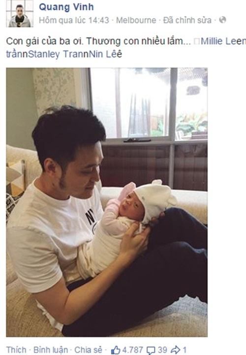 Quang Vinh hạnh phúc ôm cô con gái nhỏ vào trong lòng. - Tin sao Viet - Tin tuc sao Viet - Scandal sao Viet - Tin tuc cua Sao - Tin cua Sao