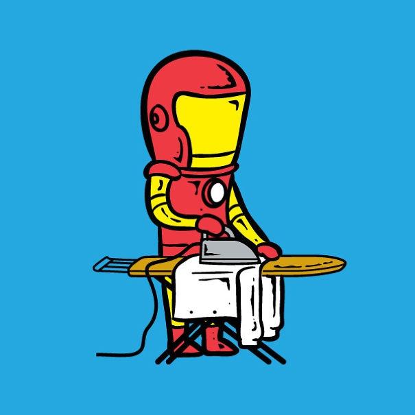 Còn nghề nào hợp với Iron Man (Người Bàn Là) hơn việc giặt ủi đây!