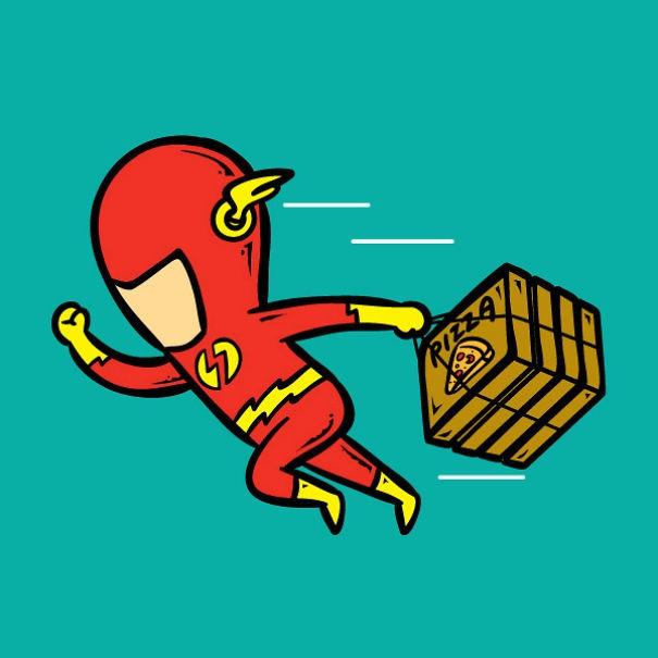 Với tốc độ ánh sáng của The Flash, khách hàng có thể thưởng thức những miếng pizza nóng hổi vừa mới ra lòchưa đầy 1 giây.