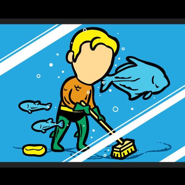 Vừa hít thở được dưới nước, vừa yêu quý cá tôm, Aquaman sẵn sàng làm anh chànglau dọn bể bơi nếu sau này thất nghiệp.