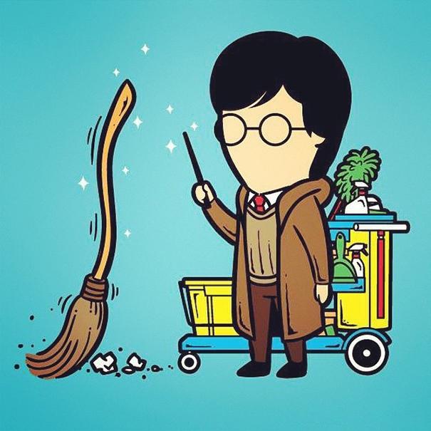 Lúc thất nghiệp, người ta thường thấy Harry Potter lượn lờ quanh các thùng rác.