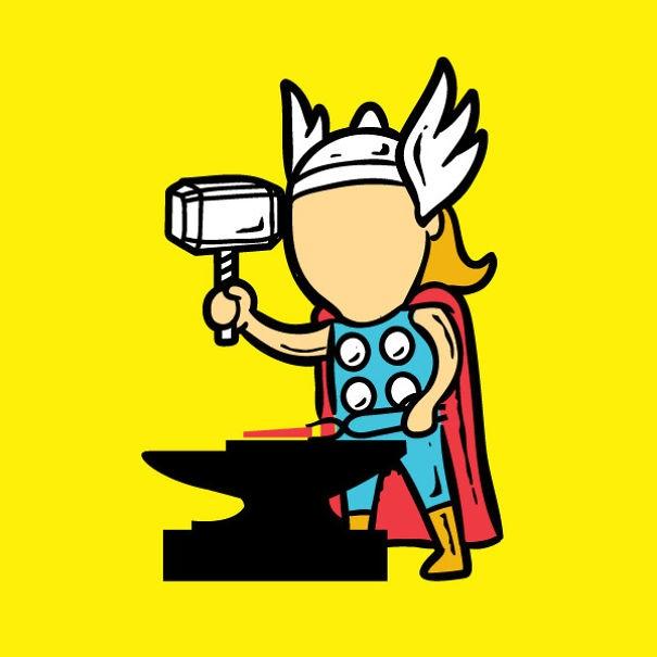 Cây búa thần thánh của Thor vẫn giúp anh đẹp trai ngay cả trong những công việc ít thần thánh nhất.
