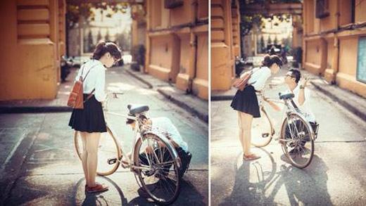 """Có phải chiếc xe đạp thường là cái """"cớ"""" để chàng được """"tiếp cận"""" nàng?(Ảnh: Internet)"""