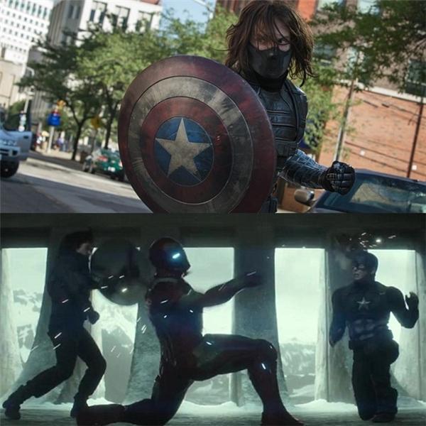 """Bucky lại """"mượn"""" khiên Captain America: Ở nguyên tác truyện tranh, sau khi Steve Rogers qua đời, Bucky Barnes là người kế tục chiếc khiên vibranium. Người hâm mộ dự đoán điều đó sẽ sớm xảy ra trên màn ảnh, bởi Sebastian Stan còn phải tham gia 6 phim nữa của Marvel, còn con số của Chris Evans chỉ là một phim. Trên thực tế, ở cả ba tập phim Captain America, nhân vật Bucky Barnes/Winter Soldier đều có cơ hội chạm vào hoặc sử dụng chiếc khiên huyền thoại."""