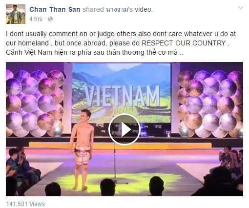 """Trên trang cá nhân, hot boy Chan Than San bày tỏ ý kiến cá nhân về phần trình diễn của Vĩnh Cường. Nội dung tạm dịch như sau: """"Tôi thường không bình luận hay đánh giá về những việc người khác làm ở quê nhànhưng một khi bạn đã ra nước ngoài, hãy giữ thể diện cho quốc gia""""."""