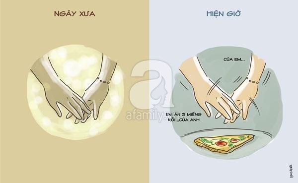 Khi xưa chúng ta nắm tay nhau là hạnh phúc, giờ chúng ta chạm tay nhau vì một mục đích khác... thật khác!