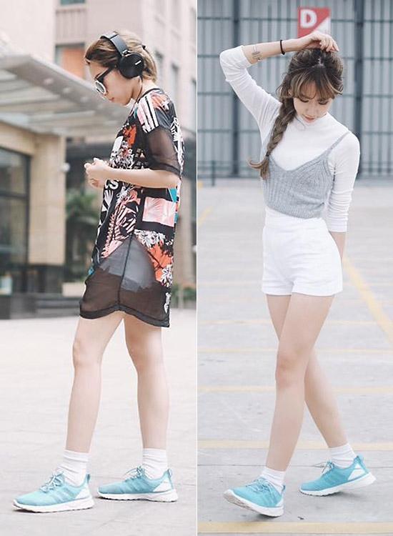 Đôi giày này thường được Min kết hợp với trang phục mang màu sắc năng động, trẻ trung và có phần cá tính. Thiết kế mềm mại cùng màu sắc nhã nhặn giúp cô nàng có thể mang đôi giày này đi đến mọi nơi.