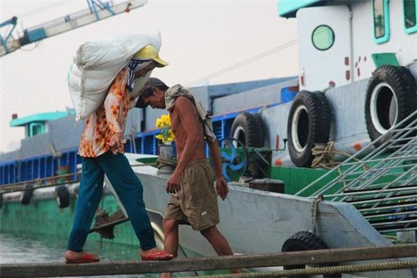 Những ngày nắng chết người như thế này,hàng chục người phụ nữ vẫn lao ra các chiếc xe tải chở phân đạm ởkênh Tẻ quận 7 (TP.HCM) để vác từng bao đưa xuống tàu. Ảnh: Internet