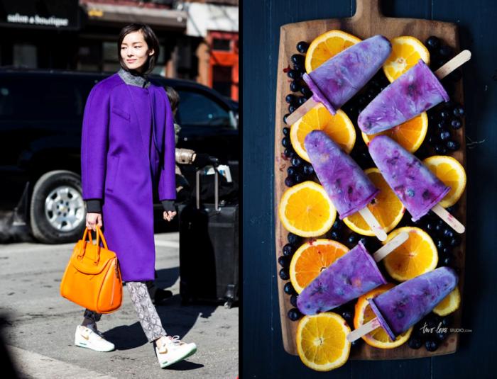 Hai sắc màu tím, cam hòa hợp tuyệt đối với món kem mát lạnh mang màu sắc ẩm thực phương Tây.