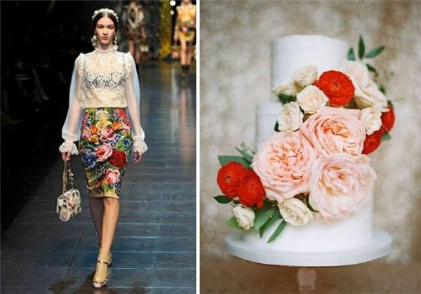 Một thiết kế đầy màu sắc của Dolce and Gabbana được ví von với món bánh sinh nhật cầu kì, tinh tế.