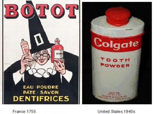 Mẫu kem đánh răng ở Pháp năm 1755 và mẫu kem thương hiệu Colgate những năm 1940.