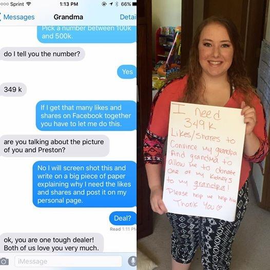 Victoria kêu gọi lượt like và chia sẻ từ mọi người để thuyết phục bà nội chấp nhận để cô hiến thận cho ông nội đang bệnh. (Ảnh: FBNV)
