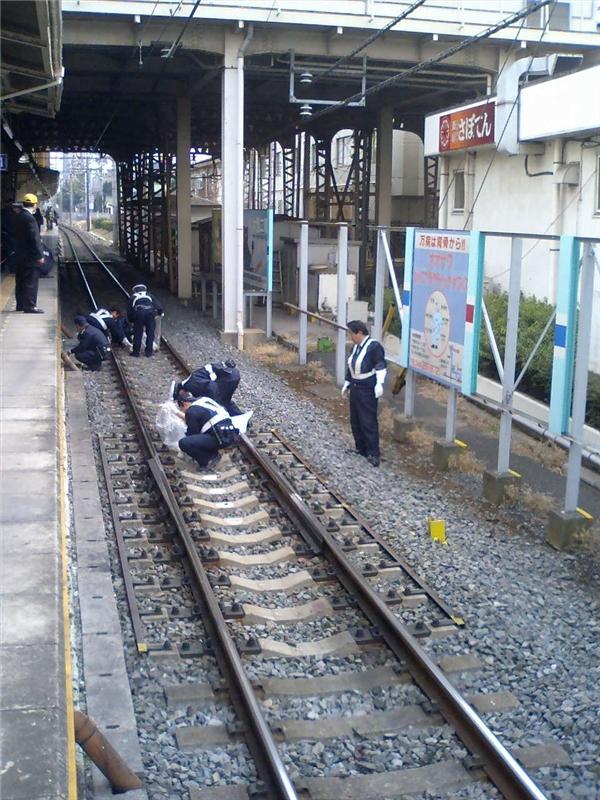 Hiện trường một vụ tự tử tại ga Kumifukuoka. (Ảnh: Internet)