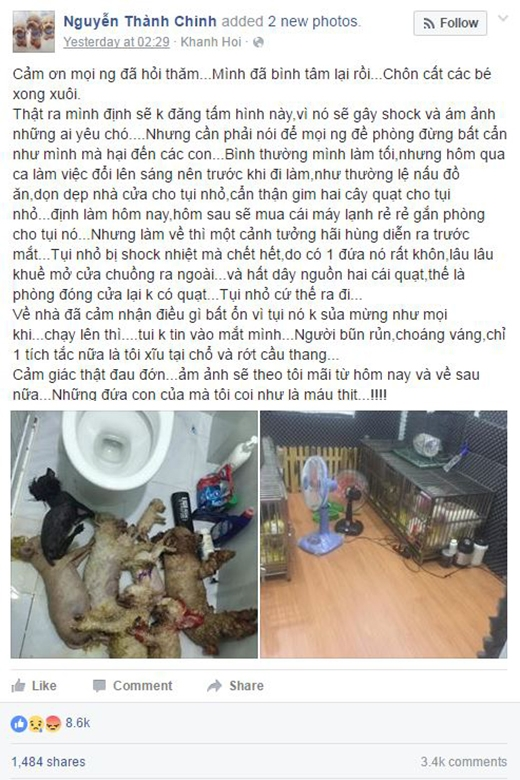 Những chia sẻ mới nhất của bạn Nguyễn Thành Chinh về mất mát to lớn của mình (Ảnh: Nguyễn Thành Chinh)