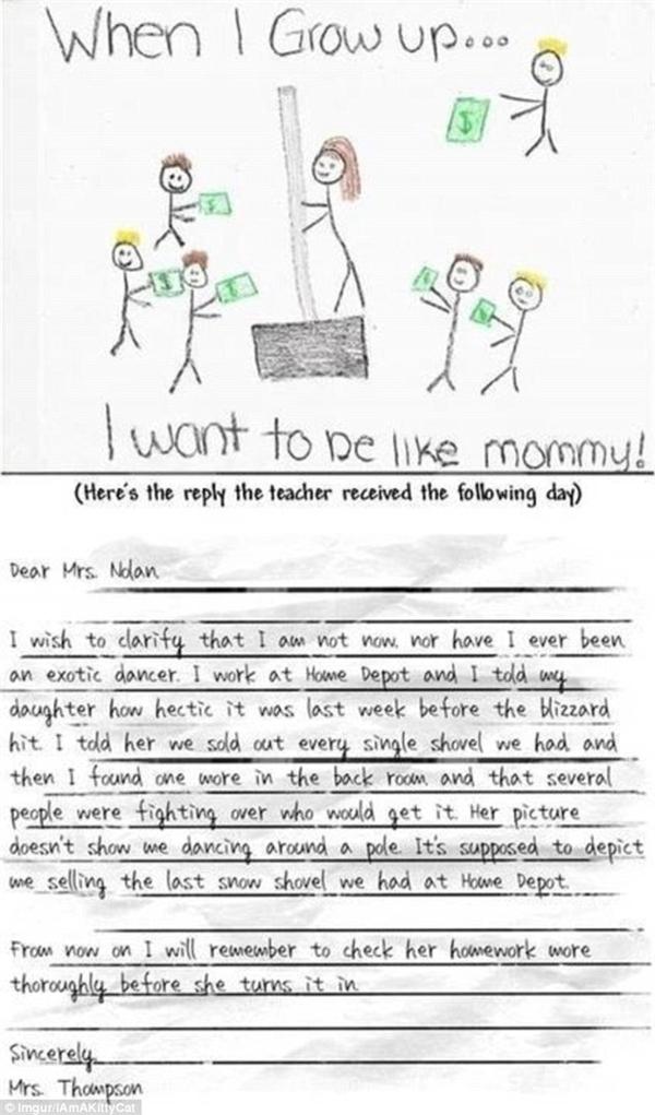 Người mẹ này có lẽ đã đắn đo cực lâumới đủ can đảm viết tâm thư gửi cho thầy giáo của con mình, để giải thích rằng cô hoàn toàn không phải là... một vũ công (múa cột) như hình của con gáimình đã vẽ trong bài tập về nhà. Thật ngại quá đi! (Ảnh: Dailymail)