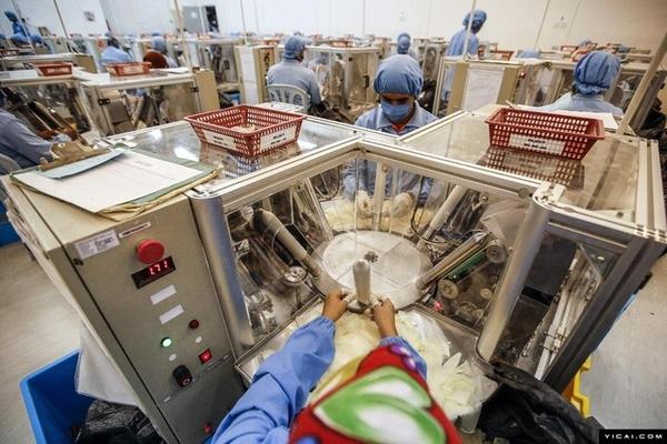 Trong môi trường vô trùng, bao cao su sẽ được bọc trong lớp kín bằng nilon trước khi trở thành sản phẩm hoàn thiện.