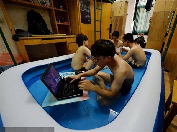 """Cùng là ngâm nước, nhưng nhóm này """"sang chảnh"""" hơn, """"tậu"""" cả cái bể bơi to trong phòng rồi kê bàn ngồi... chơi. (Ảnh: Internet)"""