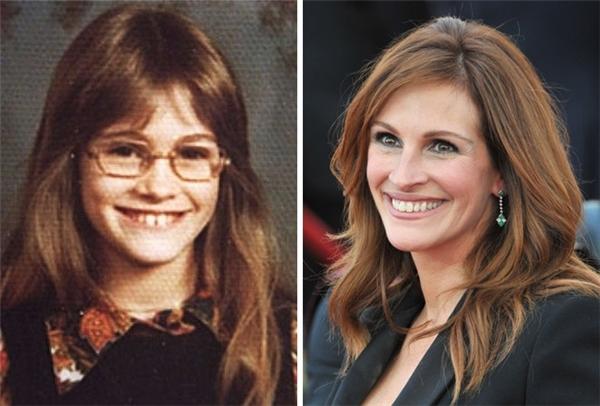 Julia ngày nhỏ trông rất dễ thương nhưng không toát lên được thần thái ngôi sao như sau tuổi dậy thì. (Ảnh: pinterest; Featureflash Photo Agency)