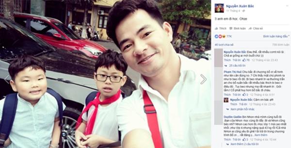 Tấm ảnh Xuân Bắc đưa con trai đi học cũng nhận được sự quan tâm của công chúng với 77.000 like. - Tin sao Viet - Tin tuc sao Viet - Scandal sao Viet - Tin tuc cua Sao - Tin cua Sao