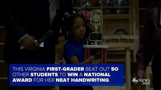 Cô bé không tay thắng giải viết chữ đẹp toàn nước Mỹ